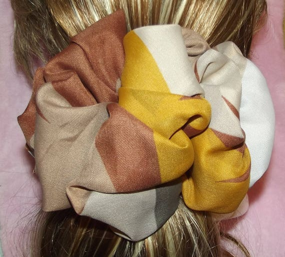 Becky Bows ~OOAK ROSETTE Barrette Hand crafted giant huge Scarf BIG hair bow Women or Girls gold brown tan