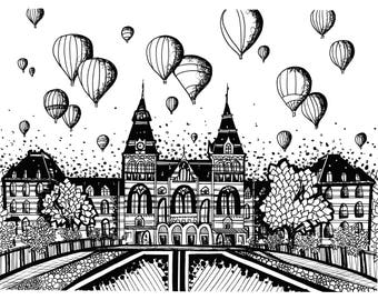 Limited Edition Amsterdam Drawing Print- Signed by Kelsey Montague