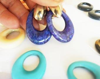 Vintage Interchangeable Earrings / Lapis Earrings / Tiger Eye Earrings / Loop Earrings / Lapis Jewelry / Tiger Eye Jewelry /