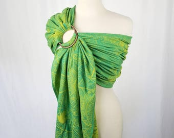 Organic Cotton Wrap Conversion Frog Ring Sling -  DIDYMOS Kwaak - Newborn, Infant, Baby, Toddler Carrier - Hybrid Gathered Pleated Shoulder