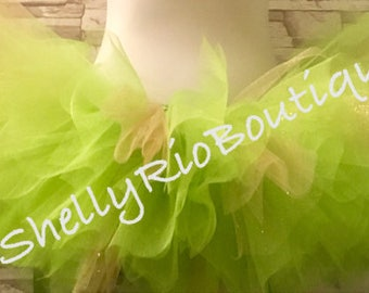 Green and Gold Tutu, Tinkerbell Tutu, Fairy Tutu, Halloween Tutu, Adult Tutu