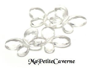 set of 5 Butterfly beads transparent