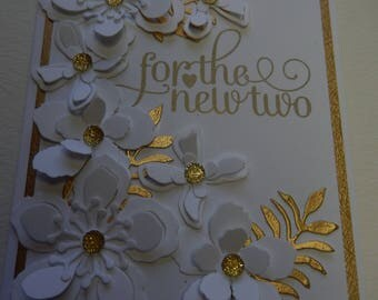 White and Gold 3-D Floral Wedding Card