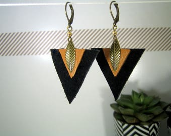 Earrings ethnic bronze triangles and cuirnoir and camel