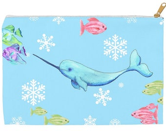 Narwhal Zipper Pouch,  Narwhal bag,  accessory pouch,  makeup bag, art supplies, pencil pouch, arctic animals, studio pouch