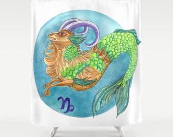 Capricorn Shower Curtain -  Zodiac Sign  blue, goat,  December January,  watercolor, illustrated,  horoscope decor, bathroom