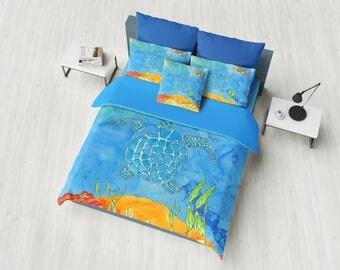 Sea Turtle Duvet Cover or Comforter, fish, undersea, Ocean, coastal surf, blue, orange, colorful,   bedroom decor