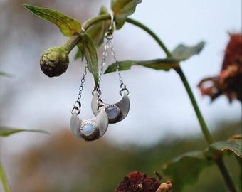 Rainbow Moonstone Sterling Silver Crescent Earrings