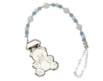 Sterling Silver Teddy Bear Binky Clip Comes in a Gift Box for Baby Shower (BC-Alec)