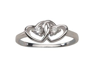 Sterling Silver Baby Ring with Double Hearts and a CZ Stone for Girls (BR-68)