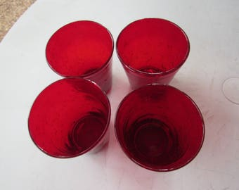 Hand Blown Red Mexican Glass Tumblers Set of 4