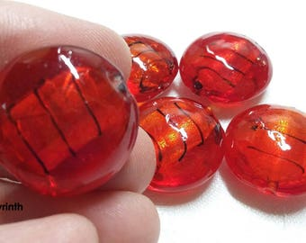Lot 5 round 20mm red/silver/Zebra foil Lampwork beads