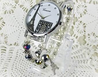 Eiffel Tower wristwatch quartz watch bracelet ladies watch beads glass beads