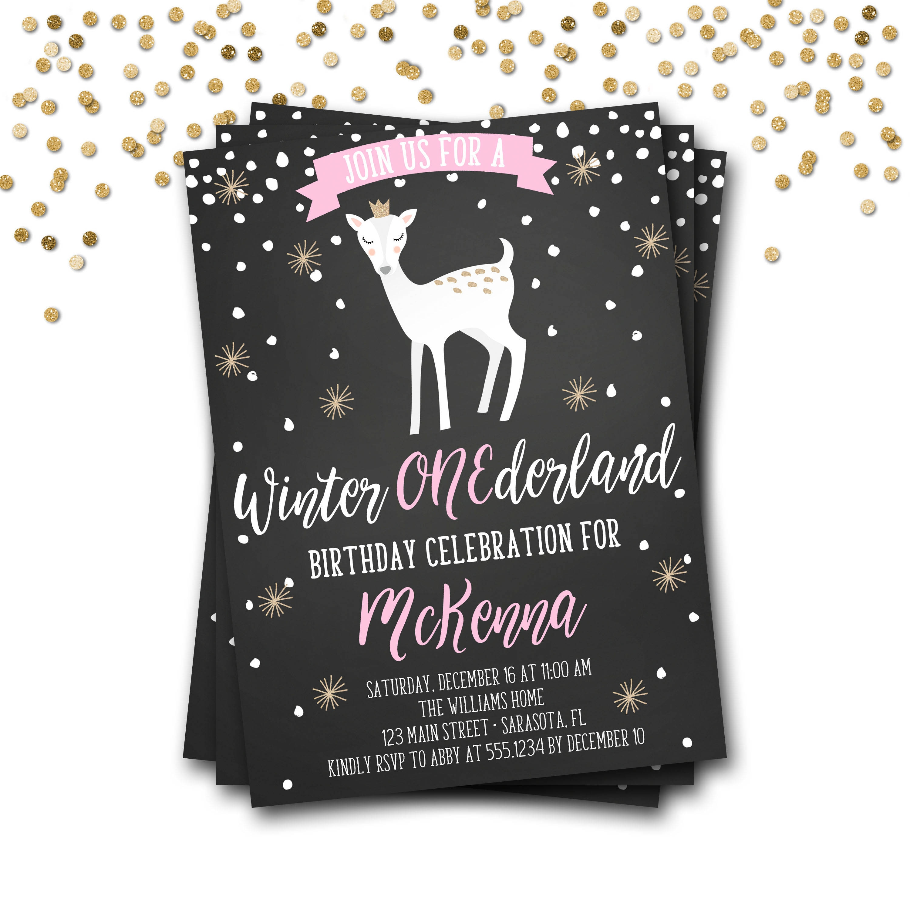 Winter Onederland Birthday Invitation, Winter Onederland Invite ...