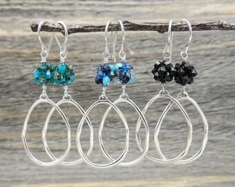 Silver Teardrop Earrings, Boho Earrings, Organic Silver Hoop Earrings, Sterling Earrings, Swarovski Crystal Earrings, Heather Downes Jewelry