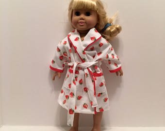 DN20- American Girl and Maplelea Housecooat: tiny strawberry soft flannel with tie