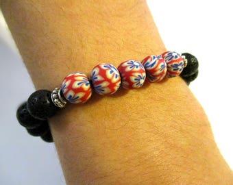 Lava Bead Bracelet | Polymer Clay Beads | Lava Stone Diffuser Bracelet | Lava Rock Bracelet | Red White and Blue | Stackable Bracelets