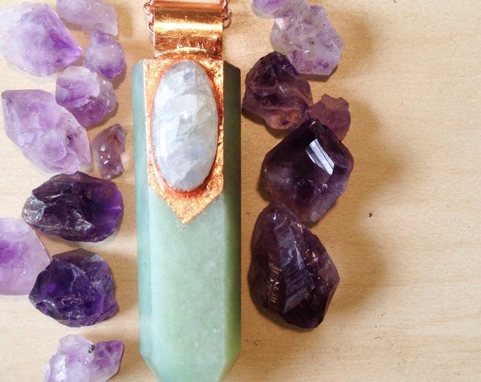 Aventurine Wand with Moonstone and Rose Gold Leaf Necklace