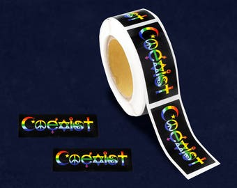250 Small Rectangle Rainbow Coexist Stickers (250 Stickers)(ST-32-RBCO)