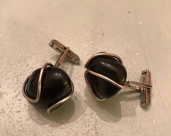 Vintage Obsidian stone and sterling cufflinks
