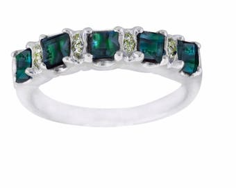 Alexandrite Diamond Ring -Natural Alexandrite- in 14K White Gold .Free Shipping in The USA