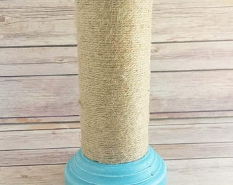 Turquoise Wood Candle Holder | Wood and Twine Cabdle Holder | Beach Cottage Home Decor | Up-Cycled Home Decor | READY TO SHIP