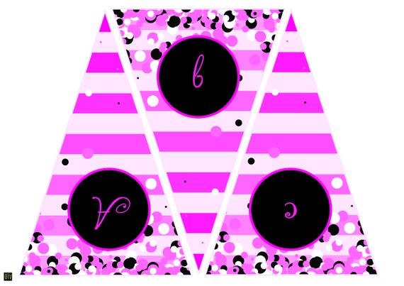 New** Pink Cocktail Personalised ADULT Bunting / Garland - Printable - PDF - Digital