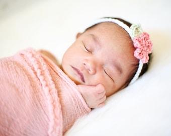 Flowered tie back headband, baby headband, baby gift, headband, baby accessory, photo prop, crocheted headband