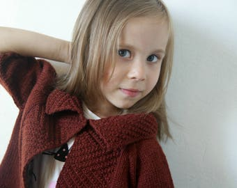 Toddler Cardigan, Toddler Girl Sweater, Toddler Jackets, Maroon Sweater, Hand Knit Cardigan