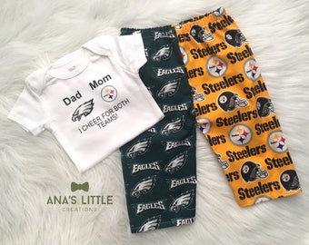 Custom House Divided Football Bodysuit ( Pittsburgh Steelers- Philadelphia Eagles) I Cheer For Both Teams and Pants or Shorts 2pc Set