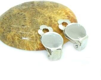 10 blank silver 19x10mm clip earrings