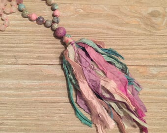 Hand knotted multi-color agate beads white agate beads pink-green-purple-turquoise sari silk tassel necklace 44""
