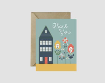 "Scandinavian Folk Art Thank You Greeting Card, 4.5"" x 5.5"", A2"