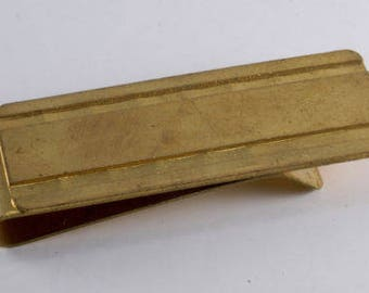 Vintage Collectible Antique Gold Plated Brass Money Clip New Old Stock