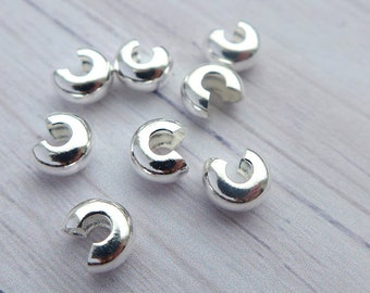 Silver plated crimp cover  4mm 10pcs
