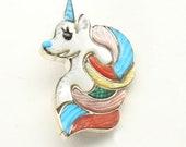 Zuni Sterling Silver Inlaid Carved Multi Stone Unicorn Pin Tamara Pinto Signed