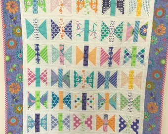 Bright and colorful butterfly or dragonfly quilt Baby girl quilt purple green pink handmade modern quilt