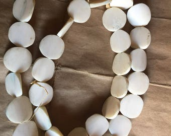 KENYA flat white batik bone beads  Africa trade beads