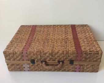 Vintage Wicker Suitcase for Display or Storage