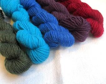 "5 mini skeins of sock yarn, 10 g each, 50 g / 205 yards total,  colour ""Blue neighborhood solids"", fingering weight mini skeins, sockyarn"