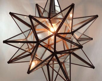 Moravian Star Pendant Light, Clear Glass, 16""