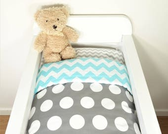 Bassinet quilt or set - Charcoal with jumbo white dots AND aqua/white chevron