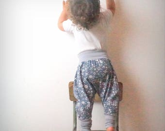 baby blue-gray organic jersey, flowers and dragonflies harem pants