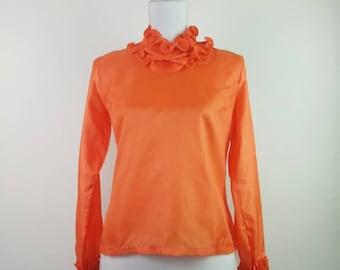 Vintage 60s Orange Cold polyester blouse Swirl frill collar