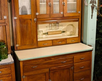 1920u0027s Montgomery Ward I X L Hoosier Cabinet With Etched Glass Windows And  Rare Mint Green Speckled Edge