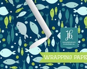 "Birthday Gift Wrap | Nautical Gift Wrap | Navy Blue Fish Nautical Gift Wrap | 20"" x 29"" Wrapping Sheet"