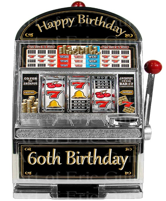 Las Vegas Happy 60th Birthday Slot Machine - Edible Cake and Cupcake Topper For Birthday's and Parties! - D22767