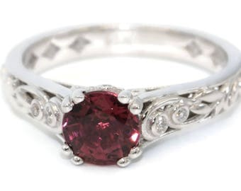 Engagement and Wedding Ring, Vine and Leaf Diamond Rings, Pink Tourmaline Ring