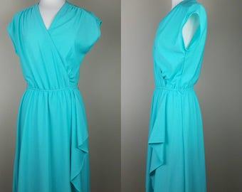 1980s vintage teal blue/green faux wrap dress