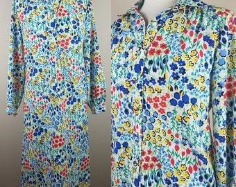 Vintage 1980s floral dress button down petite 4 small flowers